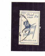 LIBANO LEBANON GRAND LIBAN 1958 SOLDIER AND FLAG SOLDATO E BANDIERA 25p USATO USED OBLITERE' - Libano