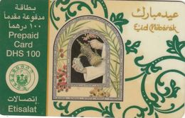 United Arab Emirates (U.A.E.), Prepaid 100 Dh. Etisalat Phone Card, Eid Greetings/Eid Mubarak) & Geometrical Pattern Etc - United Arab Emirates