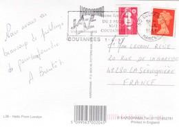 Carte Postale Angleterre Londres Oblitere En France Avec Un Timbre Anglais Et Francais - Abarten Und Kuriositäten