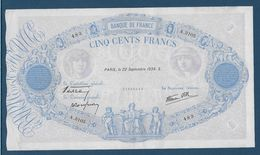 France 500 Francs Bleu Et Rose - 22-9-1938 - Fayette N°31-20 - TTB - 1871-1952 Circulated During XXth