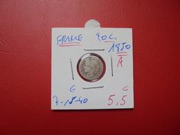 """FRANCE 20 Centimes 1850""""A"""" (ARGENT) QUALITE:VOIR PHOTOS - Francia"""