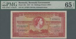 Bermuda: 10 Shillings 1957 P. 19b, Condition: PMG Graded 65 Gem UNC EPQ. - Bermudas