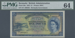 Bermuda: 1 Pound 1952 P. 20a, PMG Graded 64 Choice UNC. - Bermudas