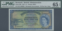 Bermuda: 1 Pound 1957 P. 20b, PMG Graded 65 Gem UNC EPQ. - Bermudas