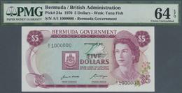 Bermuda: Pair Of 5 Dollars 1970 First Prefix Solid A/1 999999, A/1 1000000 , P.24a Very Rare PMG 64- - Bermudas