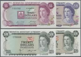 Bermuda: Set With 4 Banknotes 5 Dollars 1970 P.24, 10 Dollars 1982 P.30b And 20 Dollars 1981 And 198 - Bermudas