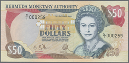 Bermuda: Set With 3 Banknotes Comprising 20 Dollars 1976 P.31b (UNC), 100 Dollars 1989 P.39 (UNC) An - Bermudas