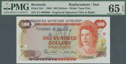 Bermuda: 100 Dollars 1986 Replacement Note, PMG Graded 65 Gem UNC EPQ. - Bermudas