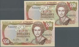 Bermuda: Rare CONSECUTIVE Paire Of 50 Dollars 1989 P. 38, Both In Condition: UNC. (2 Pcs) - Bermudas