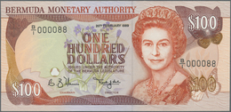 Bermuda: Rare CONSECUTIVE Paire Of 100 Dollars 1989 P. 39, With Low Serial Numbers #000087 & #000088 - Bermudas
