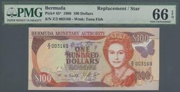 Bermuda: 100 Dollars 1996 Replacement Prefix Z/2 P. 45, PMG Graded 66 Gem UNC EPQ. - Bermudas