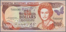 Bermuda: 100 Dollars 1994, P.46 25th Anniversary Commemorative $100 Low Serial Number C/1 00080 UNC - Bermudas