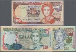 Bermuda: Set With 3 Banknotes 20 Dollars 2000 P.53, 50 Dollars 2003 P.56 And 100 Dollars 1997 P.49, - Bermudas