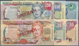Bermuda: Set Of 6 Specimen Notes Containing 2,5,10,20,50 And 100 Dollars 2000 P. 50s-55s In Conditio - Bermudas
