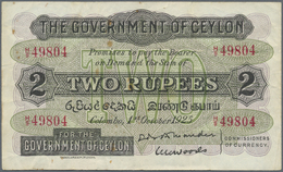 Ceylon: 2 Rupees October 1st 1925, P.21astill Crisp Paper With Several Folds And Tiny Rusty Spots. C - Sri Lanka