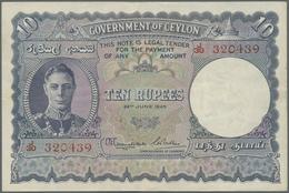 Ceylon: 10 Rupees 1945 P. 36A, Light Center Bend, No Holes Or Tears, Crisp Original Paper And Colors - Sri Lanka
