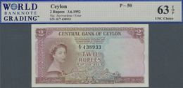 Ceylon: 2 Rupees 1952 P. 50, WBG Graded 63 Choice UNC TOP. - Sri Lanka
