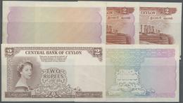 Ceylon: Rare Set Of 5 Progressive Proof Prints For 2 Rupees 1952 QEII P. 50p, Watermarked, With Moun - Sri Lanka