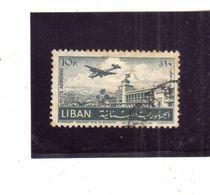LIBANO LEBANON LIBAN 1952 AIR MAIL POSTA AEREA AERIENNE BEIRUT Khalde International Airport 10p USATO USED OBLITERE' - Libano