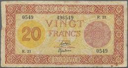 Djibouti / Dschibuti: 20 Francs ND(1945) P. 15, Palestine Print, Several Folds And Creases In Paper, - Djibouti