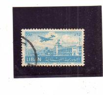 LIBANO LEBANON LIBAN 1952 AIR MAIL POSTA AEREA AERIENNE BEIRUT Khalde International Airport 25p USATO USED OBLITERE' - Libano