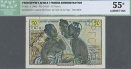 French West Africa / Französisch Westafrika: 50 Francs ND(1956) Specimen P. 45s, ICG Graded 55* AUNC - West African States