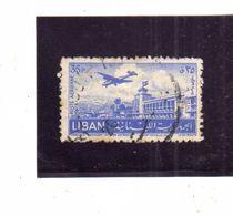 LIBANO LEBANON LIBAN 1952 AIR MAIL POSTA AEREA AERIENNE BEIRUT Khalde International Airport 35p USATO USED OBLITERE' - Libano