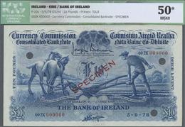"Ireland / Irland: Bank Of Ireland 10 Pounds 1929 ""Ploughman"" Specimen P. 10s, Rare Note, Condition: - Ireland"
