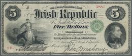 "Ireland / Irland: ""The Irish Republic"" 5 Dollars 1866 P. S101, Used With Folds And Creases, One Tiny - Ireland"
