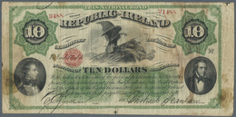 "Ireland / Irland: ""Republic Of Ireland"" 10 Dollars 186x P. NL, Stronger Used With Strong Folds And S - Ireland"