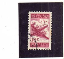 LIBANO LEBANON LIBAN 1953 AIR MAIL POSTA AEREA AERIENNE Lockheed Constellation 10p USATO USED OBLITERE' - Libano