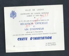 FAIRE PART D INVITATION VILLE DE LAGNY 1963 CENTENAIRE DE L UNION MUSICALE LE SÉNATEUR MAIRE Dr PAUL LÉVÊQUE : - Announcements