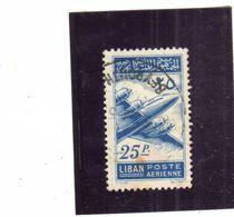 LIBANO LEBANON LIBAN 1953 AIR MAIL POSTA AEREA AERIENNE Lockheed Constellation 25p USATO USED OBLITERE' - Libano