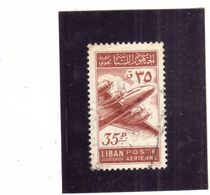 LIBANO LEBANON LIBAN 1953 AIR MAIL POSTA AEREA AERIENNE Lockheed Constellation 35p USATO USED OBLITERE' - Libano