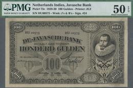 Netherlands Indies / Niederländisch Indien: 100 Gulden 1930 P. 73c, Condition: PMG Graded 50 AUNC EP - Dutch East Indies