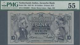 Netherlands Indies / Niederländisch Indien: 10 Gulden 1937 P. 79b, PMG Graded 55 About Uncirculated. - Dutch East Indies