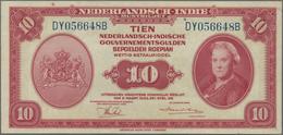Netherlands Indies / Niederländisch Indien: 10 Gulden L.1943, P.114, Lightly Toned Paper And A Few T - Dutch East Indies