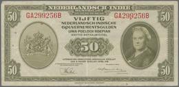 Netherlands Indies / Niederländisch Indien: 50 Gulden L.1943, P.116a In VF Condition With Several Fo - Dutch East Indies