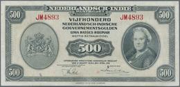 Netherlands Indies / Niederländisch Indien: 500 Gulden 1943 P. 118, Rare Note, No Strong Folds, Pres - Dutch East Indies