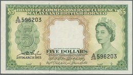 Malaya & British Borneo: 5 Dollars 1953, P.2, Very Nice And Attractive Banknote With Vertical Fold A - Malaysia
