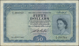 Malaya & British Borneo: 50 Dollars 1953, P.4a, Lightly Toned Paper With Several Folds And Black Sta - Malaysia