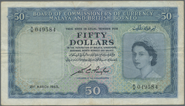 Malaya & British Borneo: 50 Dollars 1953 P. 4a, Used With Folds And Creases, No Holes, One 1cm Tear - Malaysia