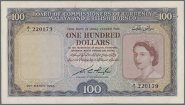 Malaya & British Borneo: 100 Dollars March 21st 1953, P.5, Highly Rare Note With A Few Folds And Tin - Malaysia