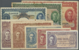 Malaya: Set Of 8 Notes Containing 1, 5, 10, 20 And 50 Cents 1941 And 1, 5 And 10 Dollars 1941 P. 6-1 - Malaysia