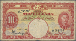 Malaya: 10 Dollars 1941 P. 13, Used With Folds And Creases In Condition: F. - Malaysia