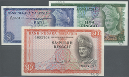 """Malaysia: Set With 1, 5 And 10 Ringgit Series ND(1967), P.1-3 With Title """"GABENOR"""" At Lower Center O - Malaysia"""