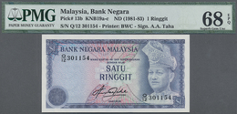 Malaysia: Set Of 2 CONSECUTIVE Notes 1 Ringgit ND(1981-83) P. 13b With Serial Numbers #301154 And #3 - Malaysia