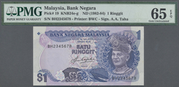 Malaysia: 1 Ringgit ND(1982-84) P. 19 With Interesting Serial Number BH2345678 In Condition: PMG Gra - Malaysia