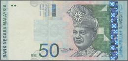 "Malaysia: 50 Ringgit ND(1998-2001) P. 43 Error Print At Right Border, The Denomination ""50"" And Prin - Malaysia"