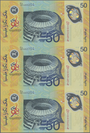 Malaysia: Uncut Sheet Of 3 Pcs 50 Ringgit Polymer ND P. 45 In Original Folder From The Central Bank - Malaysia